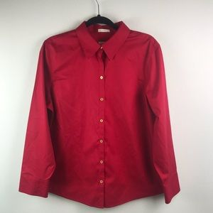 NWOT CHICOS - Sz 0S Red Button Down Shirt Blouse